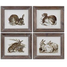 Regal Rabbits 4 Piece Framed Painting Print Set
