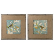 Turquoise Bird Silhouettes 2 Piece Framed Painting Print Set