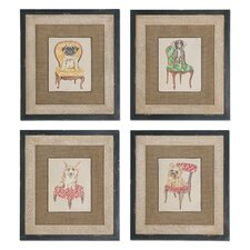 4 Piece Pampered Pets Framed Wall Art Set