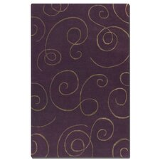 Manhattan Purple Scroll Motifs Rug