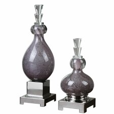 2 Piece Charoite Glass Bottle Sculpture Set