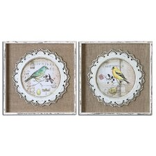 2 Piece Bird Stamps Framed Wall Art Set