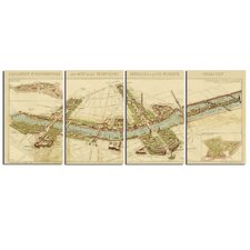 4 Piece Paris Map Wall Art Set