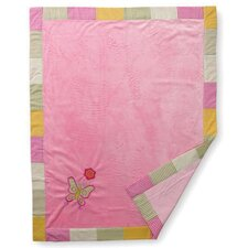 Girls Stripes and Plaids Soft Velour Blanket with Embroidery