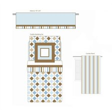 Mod Diamonds and Stripes Aqua and Chocolate Toddler Bedding Collection