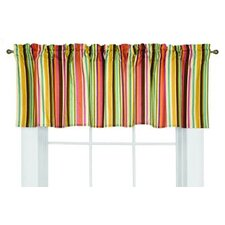 Dots and Stripes Spice Cotton Rod Pocket Tailored Curtain Valance