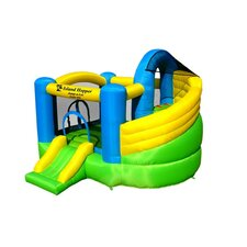 <strong>Island Hopper</strong> Jump-A-Lot Curved Double Slide Bounce House