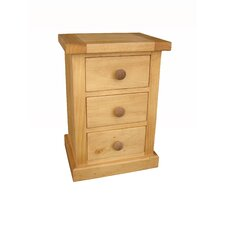 Kempton Bedroom Small 3 Drawer Bedside Table