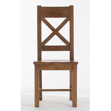 Farmhouse Cross Back Dining Chair with Wooden Seat