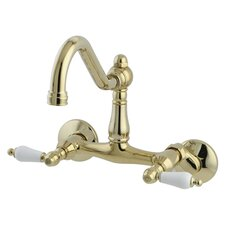 Double Handle Wall Mount Bridge Faucet with with Porcelain Lever Handles