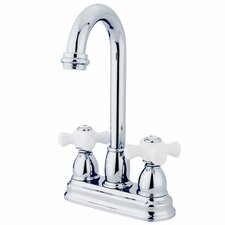 Double Handle Centerset Bar Faucet with Porcelain Cross Handles