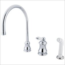 One Handle Widespread Kitchen Faucet with Porcelain Lever Handles