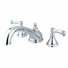 <strong>Elements of Design</strong> Royale Double Handle Deck Mount Solid Brass Roman Tub Faucet Trim French Lever Handle
