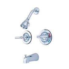 <strong>Elements of Design</strong> Milano Diverter Tub and Shower Faucet with Magellen Lever Handles