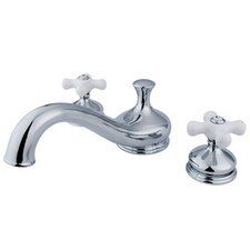 <strong>Elements of Design</strong> Double Handle Deck Mount Roman Tub Faucet Trim Porcelain Cross Handle