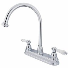 Double Handle Centerset Kitchen Faucet with Porcelain Lever Handles