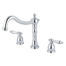 Heritage Double Handle Deck Mount Roman Tub Faucet Trim Metal Lever Handle