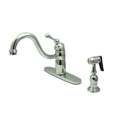 <strong>Elements of Design</strong> Heritage Singe Handle Centerset Kitchen Faucet with Buckingham Lever Handle and Side Spray