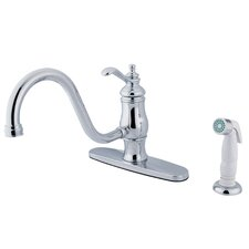 <strong>Elements of Design</strong> Heritage Singe Handle Centerset Kitchen Faucet with Templeton Lever