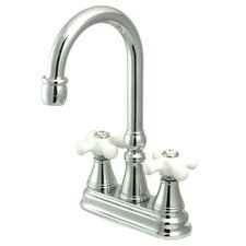 Madison Centerset Bar Faucet with Porcelain Cross Handles