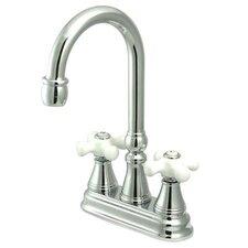 Madison Centerset Bar Faucet with Porcelain Cross Handles