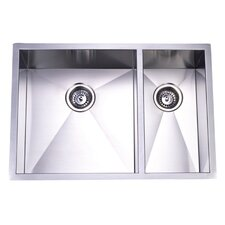 "<strong>Elements of Design</strong> 29"" x 20.06"" Towne Square Undermount Offset Double Bowl Kitchen Sink"