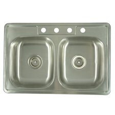 "<strong>Elements of Design</strong> 33.06"" x 22"" x 6"" Carefree Double Bowl Kitchen Sink"