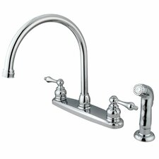 Victorian Double Handle Centerset Goose Neck Kitchen Faucet with Metal Lever Handles and Plastic Side Spray