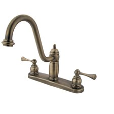 Heritage Twin Handle Centerset Kitchen Faucet with Buckingham Lever Handles