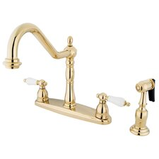 <strong>Elements of Design</strong> New Orleans Double Handle Centerset Kitchen Faucet with Porcelain Lever Handles