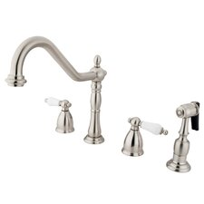 Heritage Two Handle Widespread Kitchen Faucet with Porcelain Lever Handles