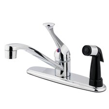 <strong>Elements of Design</strong> Single Handle Centerset Kitchen Faucet with Lever Handle and Deck Side Spray