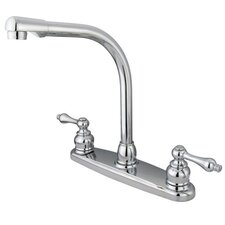 Victorian Double Handle Centerset High Arch Kitchen Faucet with Metal Lever Handles