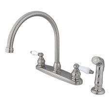 Victorian Double Handle Centerset Goose Neck Kitchen Faucet with Porcelain Lever Handles and Plastic Side Spray