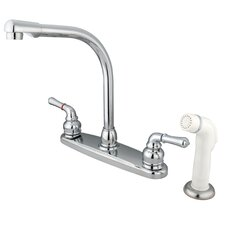 Magellan Double Handle Centerset Kitchen Faucet with Modern Lever Handles and White Side Spray