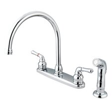 Magellan Two Handle Centerset Kitchen Faucet with Modern Lever Handles and Side Spray