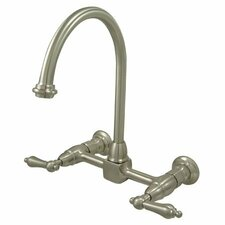 Heritage Double Handle Wall Mount Bridge Kitchen Faucet with Metal Lever Handles