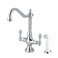 Heritage Double Handle Single Hole Widespread Kitchen Faucet with White Side Spray