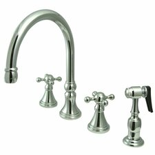 <strong>Elements of Design</strong> Deck Mount Double Handle Widespread Kitchen Faucet with Knight Cross Handle
