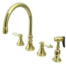 Deck Mount Double Handle Widespread Kitchen Faucet with Porcelain Lever Handle