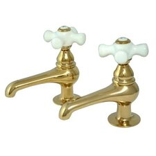 Widespread Bathroom Faucet with Porcelain Cross Handle