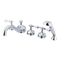 "Heritage Double Handle Deck Mount 5.25"" 5 Piece Roman Tub Faucet Trim Set Metal Lever Handle"