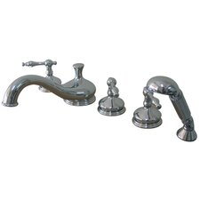 <strong>Elements of Design</strong> Heritage Double Handle Deck Mount Roman Tub Faucet