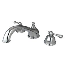 <strong>Elements of Design</strong> Double Handle Deck Mount Roman Tub Faucet Trim Buckingham Lever Handle