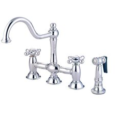 Double Handle Widespread Bridge Faucet with American Cross Handle