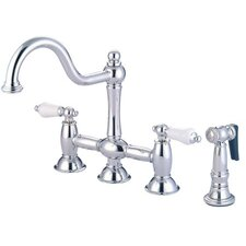 Double Handle Widespread Bridge Faucet with Porcelain Lever Handles