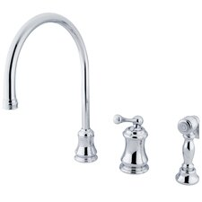 <strong>Elements of Design</strong> Single Handle Widespread Kitchen Faucet with Buckingham Lever Handles