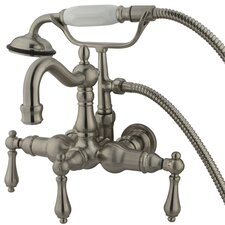 <strong>Elements of Design</strong> Hot Springs  Three Handle Wall Mount Clawfoot Tub Faucet with Hand Shower