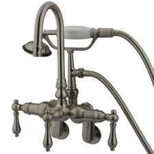 Hot Springs Triple Handle Wall Mount Clawfoot Tub Faucet with Handshower