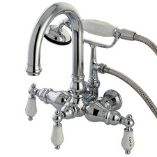 Hot Springs Double Handle Wall Mount Clawfoot Tub Faucet Trim Porcelain Lever Handle